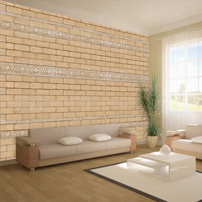 Papier peint mur avec ornements beaux meubles pas chers Quel papier peint avec meuble merisier