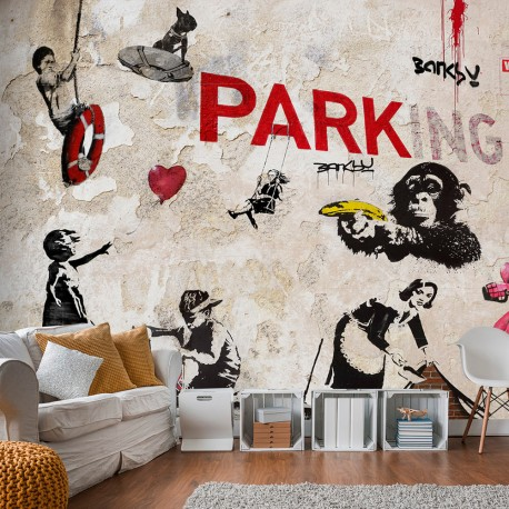 Papier peint  [Banksy] Graffiti Collage