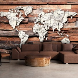 Papier peint - Map On Wood