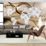 Papier peint  World Map  White & Diamonds