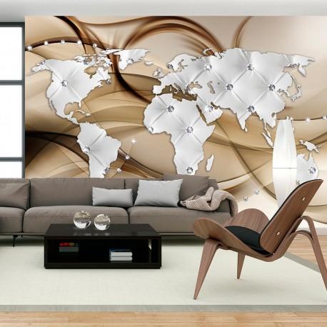Papier peint  World Map  White & Diamonds