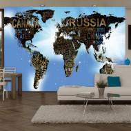 Papier peint  World Map  Blue Inspiration