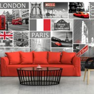 Papier peint  London, Paris, Berlin, New York