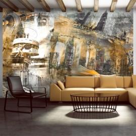 Papier peint - Berlin - collage (orange)