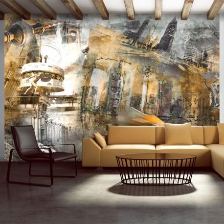 Papier peint  Berlin  collage (orange)