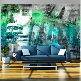 Papier peint - Berlin - collage (vert)