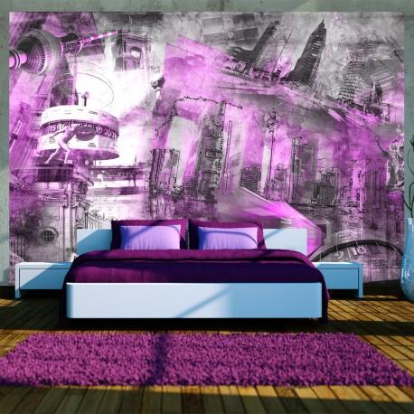 Papier peint  Berlin  collage (violet)