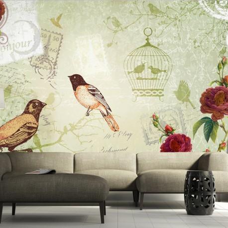 Papier peint  Vintage birds