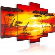 Tableau  Girafes au coucher du soleil
