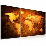 Tableau  Carte du monde dorée