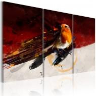 Tableau  Petit oiseau sur le fond rouge et blanc