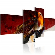 Tableau  Petit oiseau sur les quatre panneaux