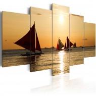 Tableau  Bateaux à voiles au coucher du soleil