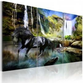 Tableau - Cheval sur fond de cascade bleue