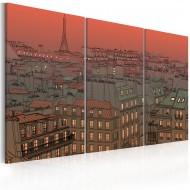 Tableau  Tour Eiffel sur fond de coucher de soleil