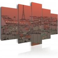 Tableau  Coucher de soleil sur fond de Tour Eiffel
