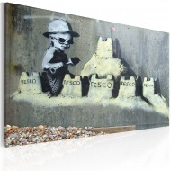 Tableau  Tesco, château de sable (Banksy)