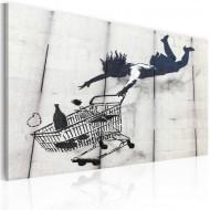 Tableau  Femme tombe avec un chariot de supermarché (Banksy)