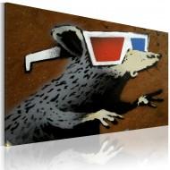 Tableau  Rat avec des lunettes 3D (Banksy)