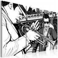 Tableau  Concert de jazz sur fond de gratteciels de New York