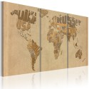 Tableau - Carte du monde en beige et brun