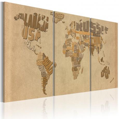 Tableau  Carte du monde en beige et brun