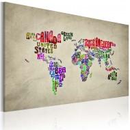 Tableau  Carte du monde en anglais