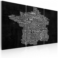 Tableau  Text map of France on the black background  triptych