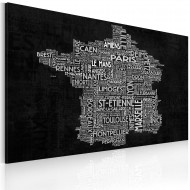 Tableau  Text map of France on the black background
