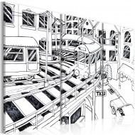 Tableau  Gare futuristique  noir et blanc