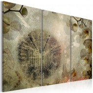 Tableau  Vintage, clock and orchid  triptych