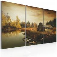 Tableau  Idyllic village  triptych