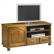 Meuble banc TV HIFI chêne 1 porte 2 tiroirs 5639AR
