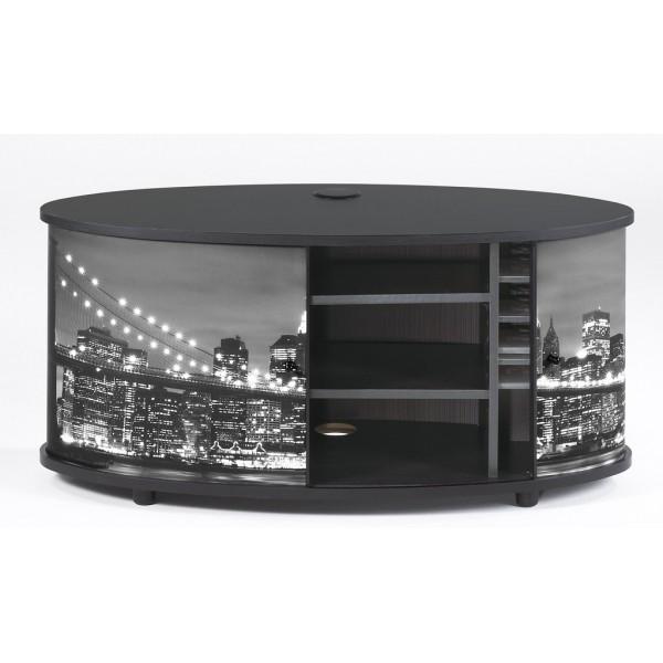 Meuble tv banc noir rideau imprim for Meuble tv grand ecran