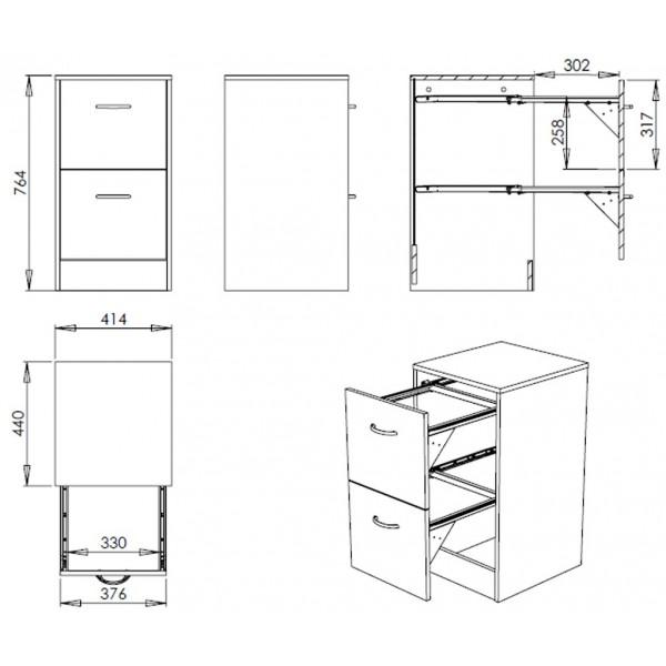 classeur en bois 2 tiroirs. Black Bedroom Furniture Sets. Home Design Ideas