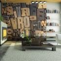 Papier peint - Lettres en bois