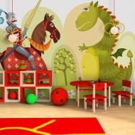 Papier peint  Dragon et chevalier