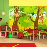 Papier peint  jungle  singes