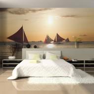 Papier peint  voiliers  coucher de soleil
