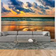 Papier peint  Coucher de soleil coloré sur la mer