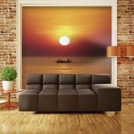Papier peint  Bateau de pêche au coucher de soleil