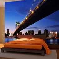 Papier peint  Manhattan Bridge illuminé la nuit