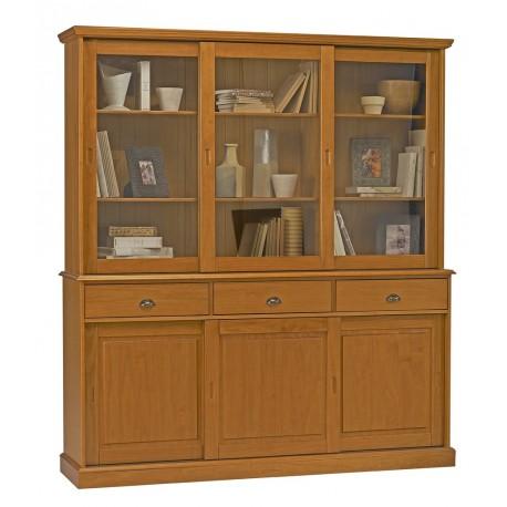buffet - vaisselier bibliothèque pin miel 6 portes coulissantes