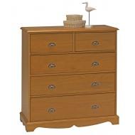 Commode pin miel 5 tiroirs de style anglais 38105