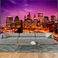 Papier peint  Manhattan et Pont de Blooklyn la nuit
