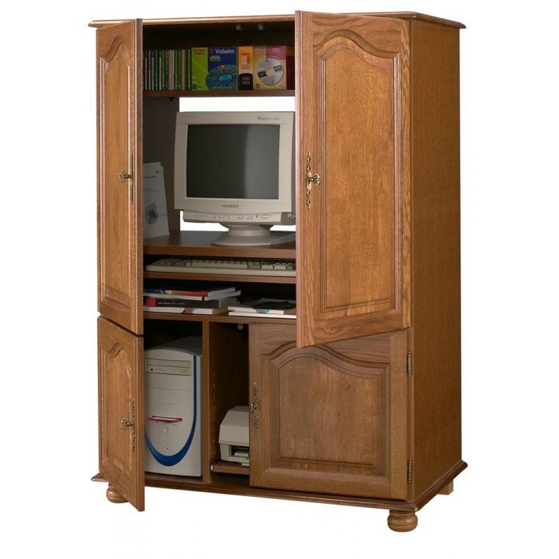 Armoire informatique ch ne 4 portes beaux meubles pas chers - Armoire informatique bois ...