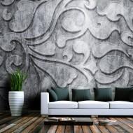Papier peint  Fond argenté avec motif floral