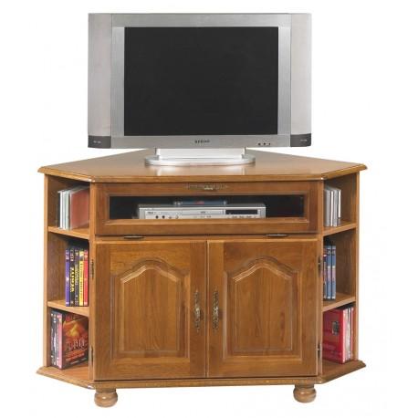 Meuble TV d'angle chêne 2 portes 1 abattant 5651