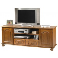 Meuble TV banc chêne 2 portes 2 tiroirs
