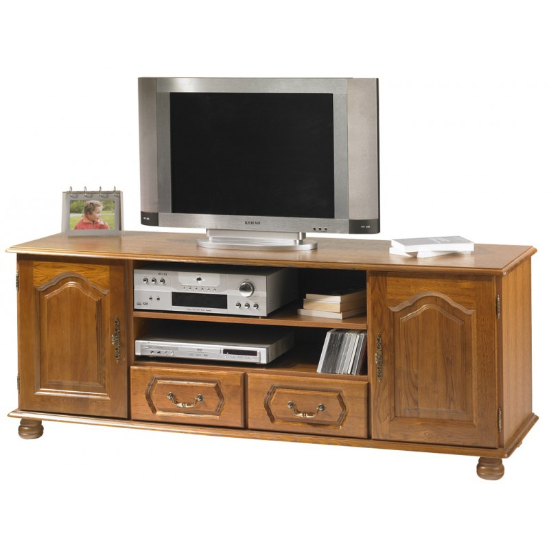 meuble banc tv hifi ch ne 2 portes 2 tiroirs. Black Bedroom Furniture Sets. Home Design Ideas